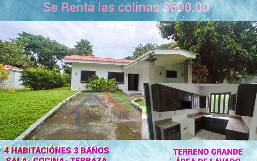 Renta de casa en las colinas Managua Nicaragua
